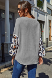 Shewin  Leopard Sleeve Top - Front full body