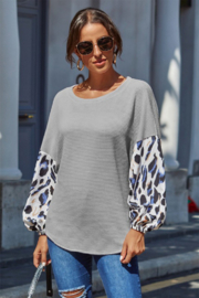 Shewin  Leopard Sleeve Top - Product Mini Image
