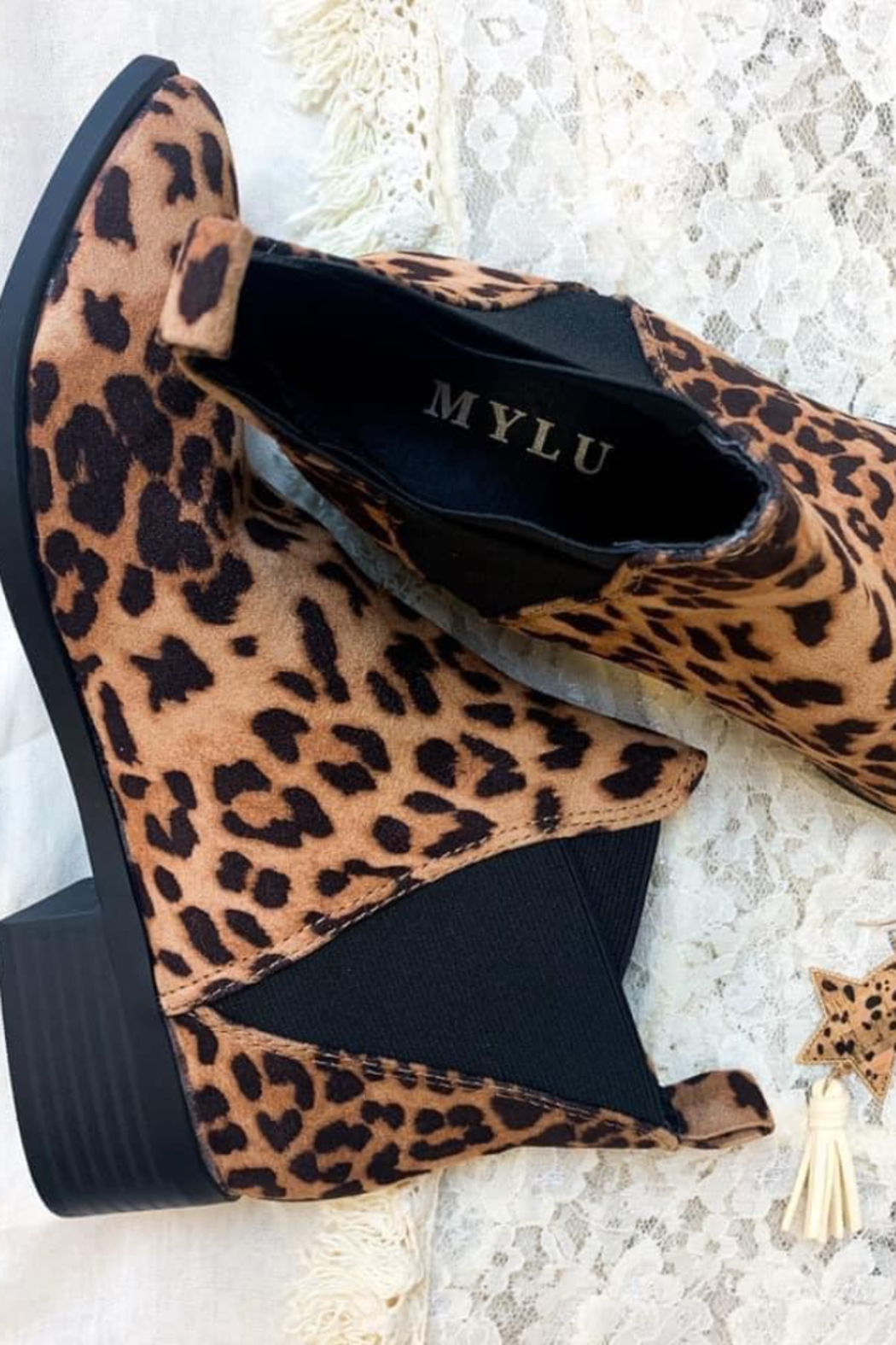 Mylu Leopard Slip on Ankle Boot - Front Full Image
