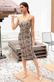 Hidden Brand Leopard Spaghetti Strap Over Knee Length Ruched Dress - Product Mini Image