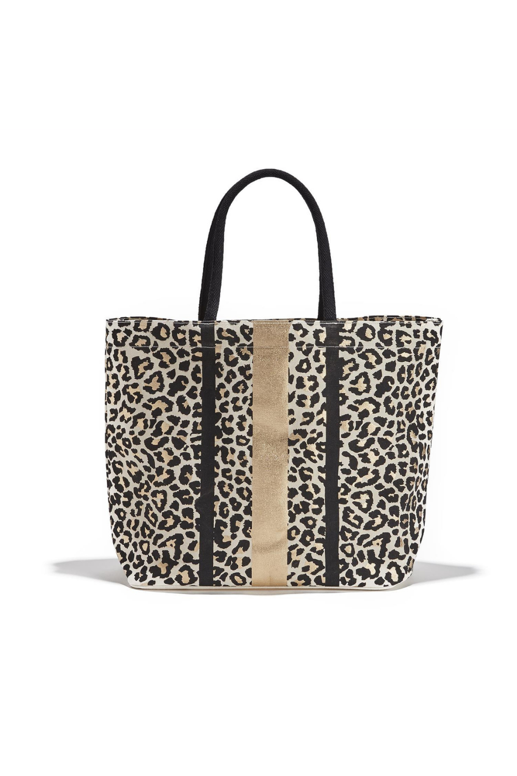 Two's Company Leopard Spot Metallic/Gold Foil Tote - Front Cropped Image