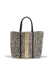 Two's Company Leopard Spot Metallic/Gold Foil Tote - Front cropped