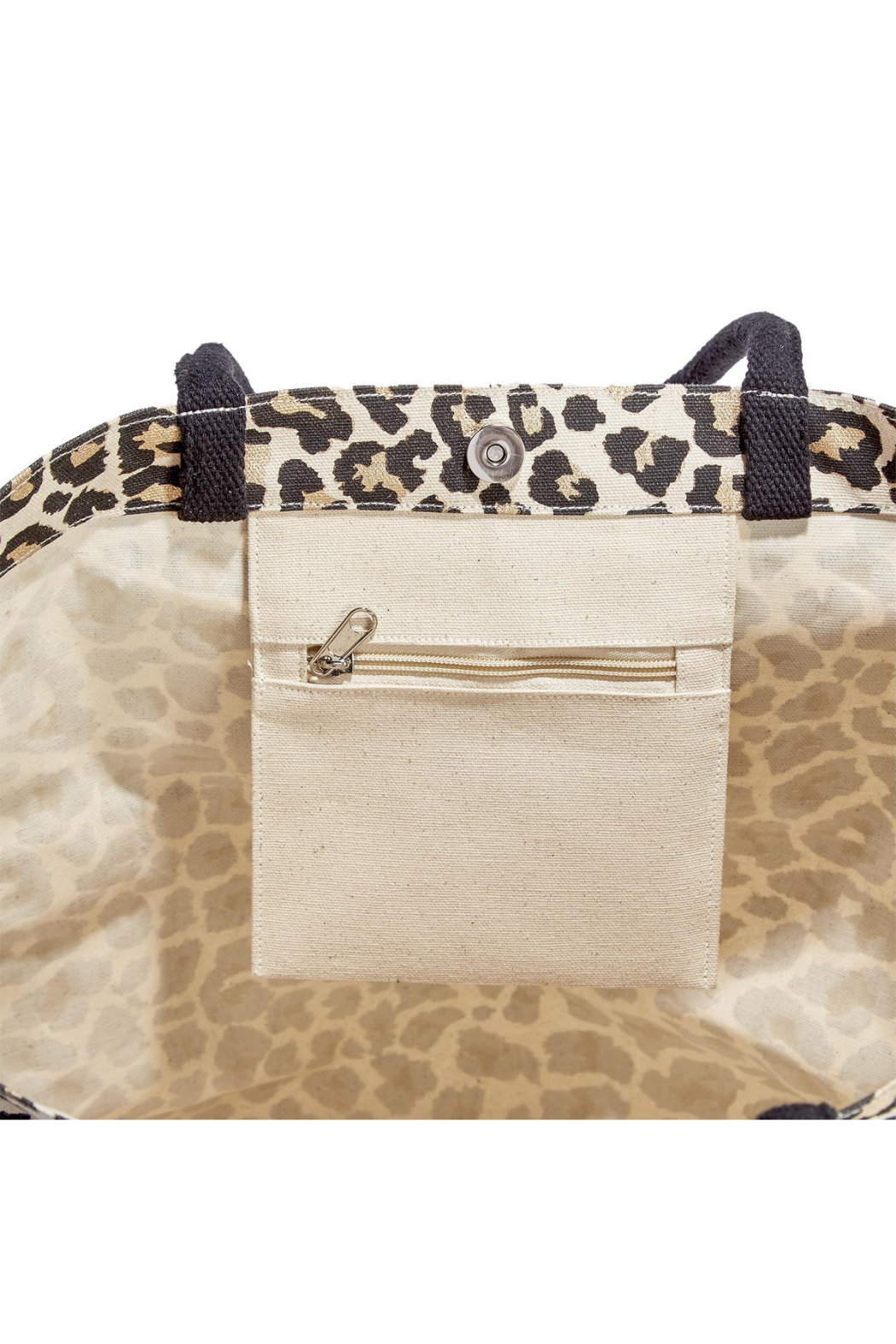 Two's Company Leopard Spot Metallic/Gold Foil Tote - Front Full Image