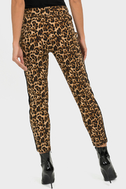 Joseph Ribkoff USA Inc. Leopard Straight Leg Pant w Glitter Side Stripe - Front full body