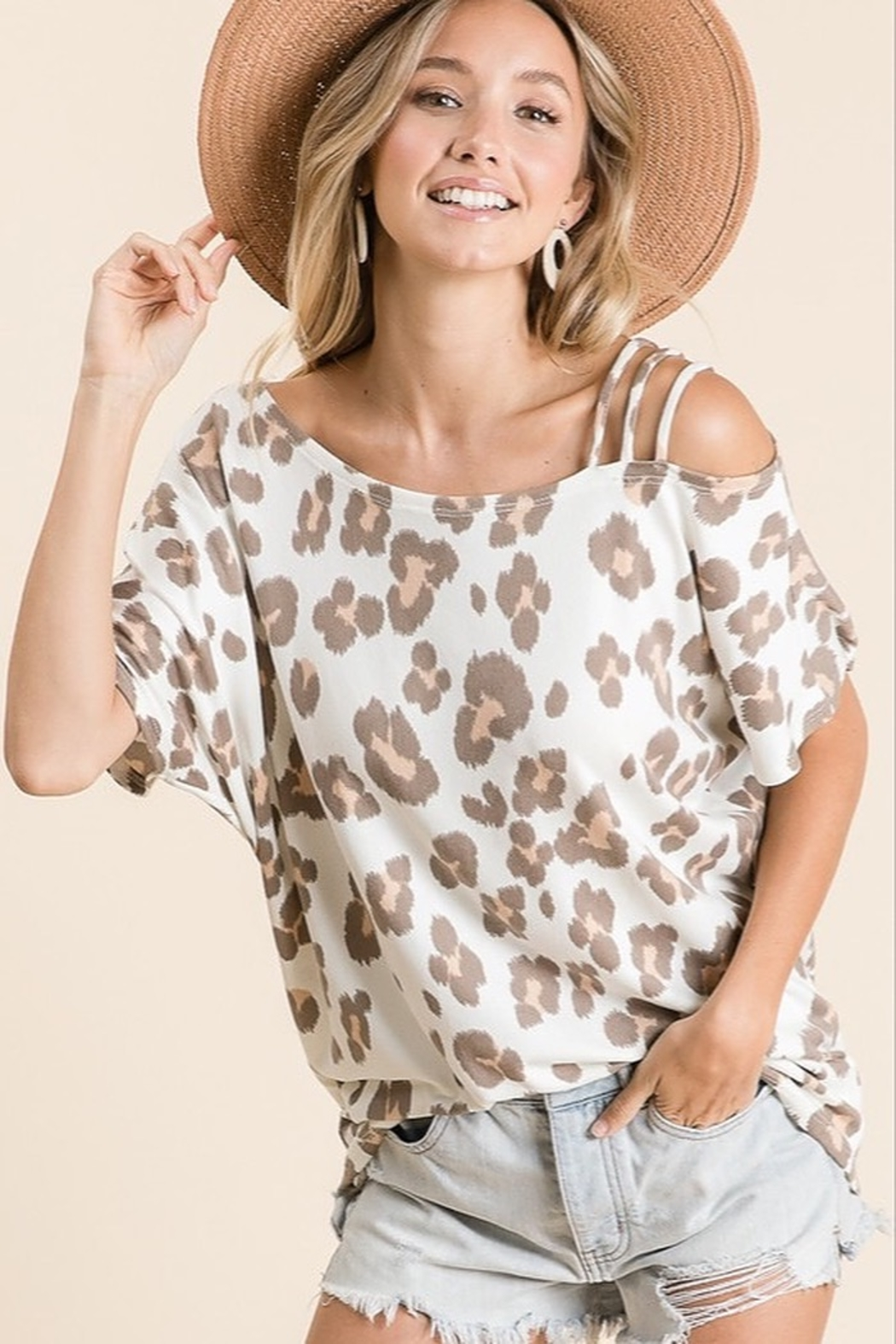 Macaron Leopard Strapped One Shoulder - Main Image
