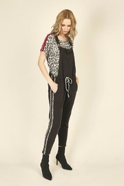 Vintage Havana Leopard Striping Overall Jumpsuit - Front cropped