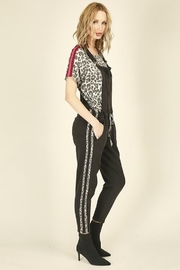 Vintage Havana Leopard Striping Overall Jumpsuit - Front full body