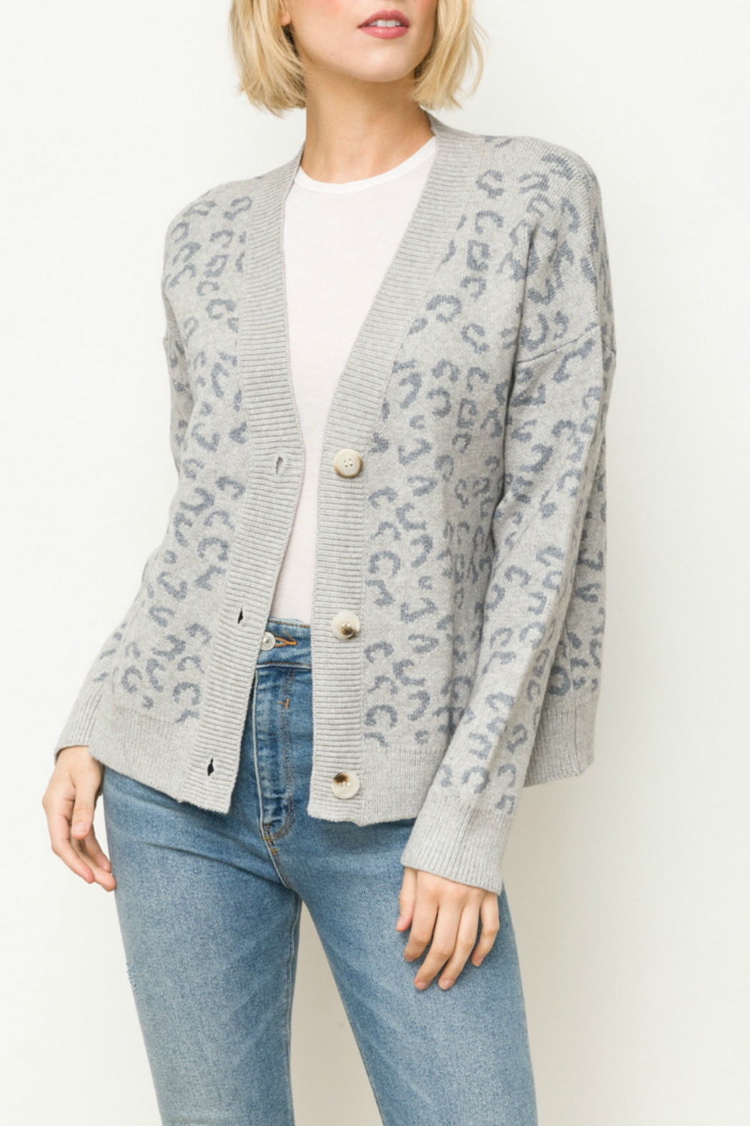 Mystree Leopard sweater cardigan - Front Cropped Image