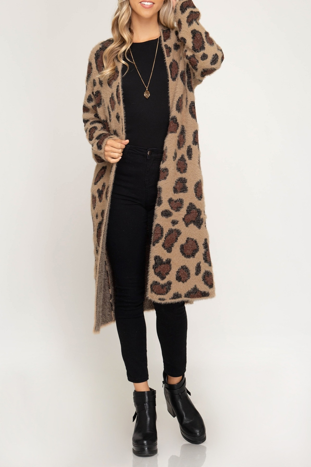 She + Sky Leopard Sweater Cardigan - Side Cropped Image