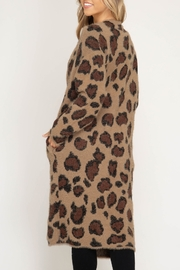 She + Sky Leopard Sweater Cardigan - Front full body