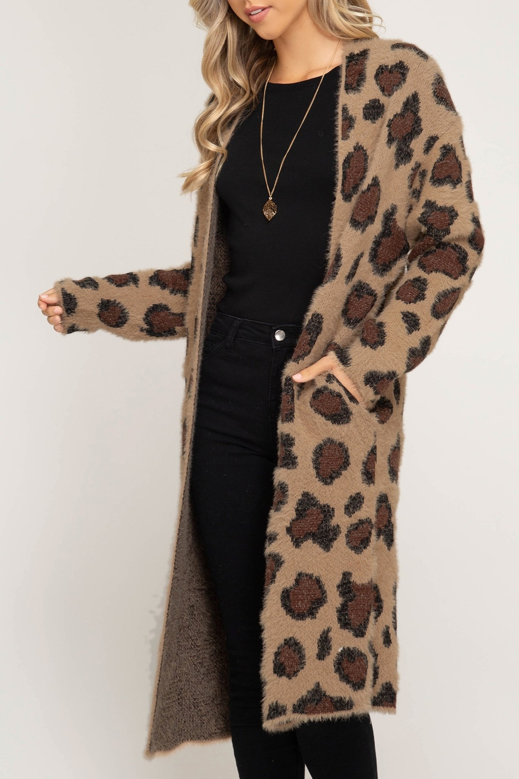 She + Sky Leopard Sweater Cardigan - Front Cropped Image