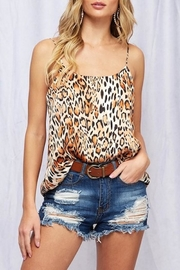 Peach Love Cream Leopard Tank Top - Product Mini Image