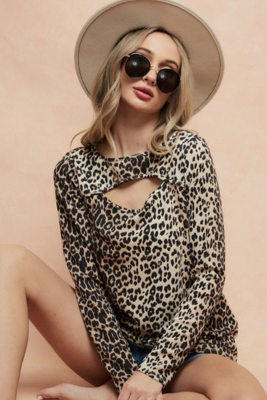 Bibi LEOPARD THERMAL KNIT TOP WITH CUT OUT NECK DETAIL - Main Image