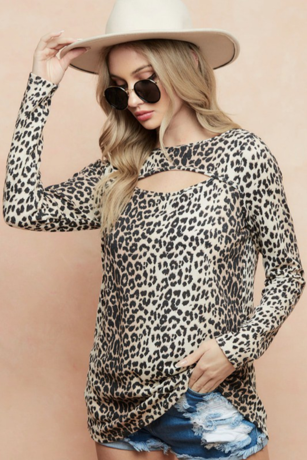 Bibi LEOPARD THERMAL KNIT TOP WITH CUT OUT NECK DETAIL - Front Full Image