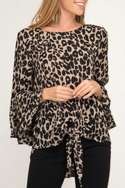 She + Sky Leopard Tie-Front Blouse - Product Mini Image