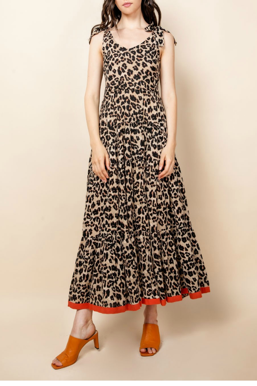 Thml Leopard Tie Strap Dress - Main Image