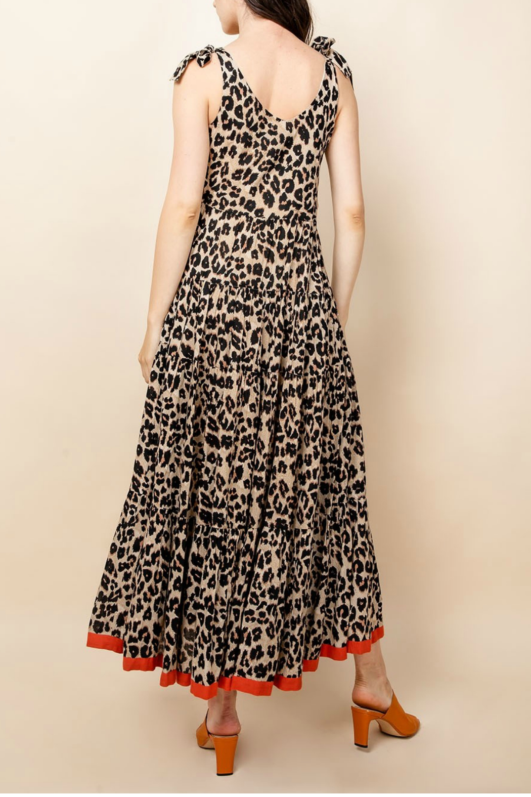 Thml Leopard Tie Strap Dress - Front Full Image