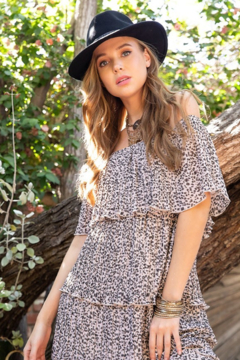 Entro  Leopard Tiered Dress - Alternate List Image