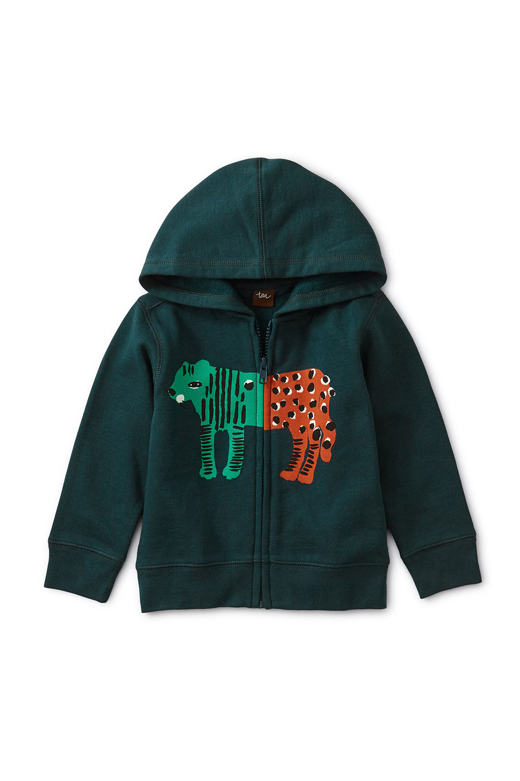 Tea Collection Leopard Tiger Zip Hoodie - Front Cropped Image