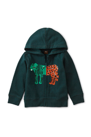 Tea Collection Leopard Tiger Zip Hoodie - Front cropped