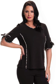 Bali Corp. Leopard Trim Knit Sweater Top - Product Mini Image
