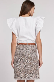 Tyler Boe Leopard Twill Frayed Skirt - Front full body