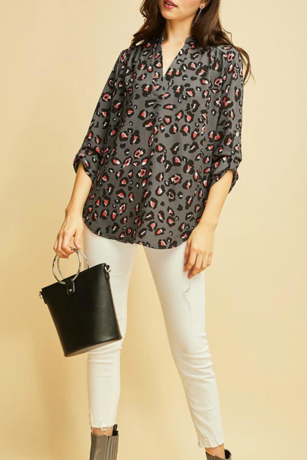 Entro Leopard V-Neck Top - Main Image