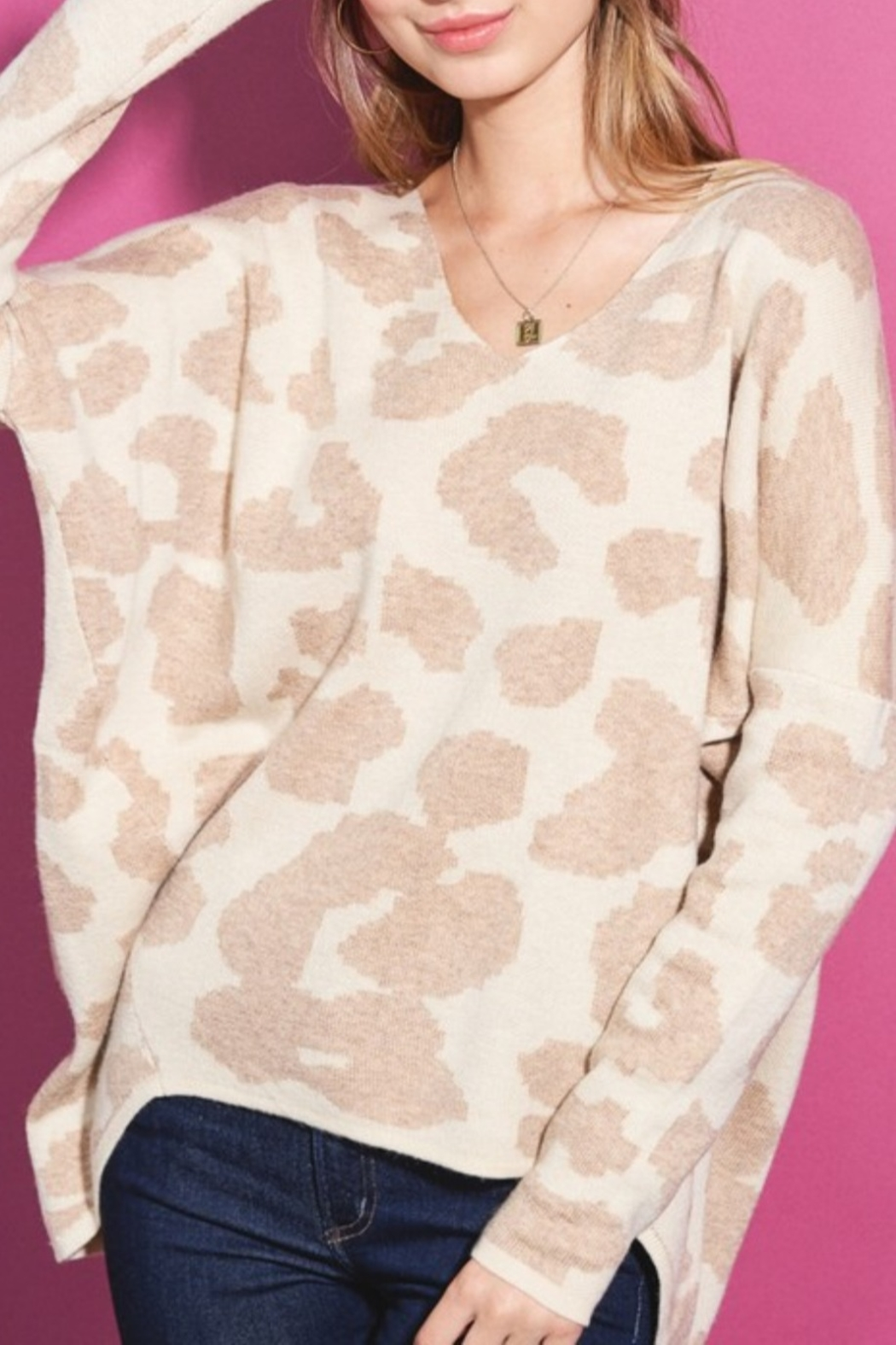 LA MIEL  Leopard Vee Neck Sweater - Main Image