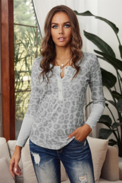 Shewin Leopard Waffle Knit Top with Half Snaps - Product List Image