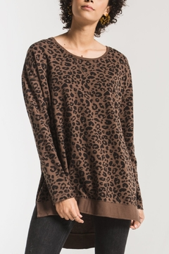 z supply Leopard Weekender Pullover - Product List Image