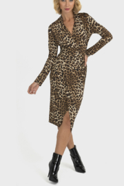 Joseph Ribkoff Leopard Wrap Detail Dress - Product Mini Image