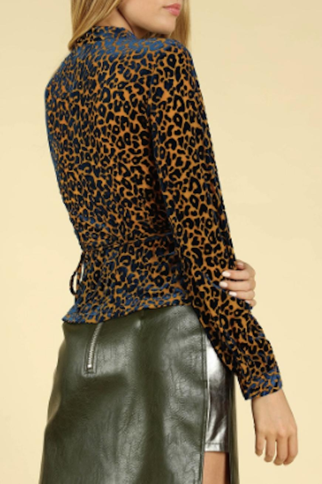 TIMELESS Leopard Wrap Top - Front Full Image
