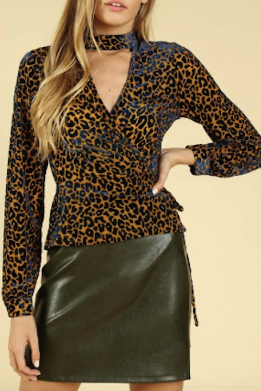 TIMELESS Leopard Wrap Top - Main Image