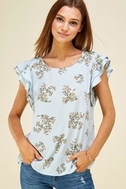 Les Amis Ava's Blue Floral Flutter Top - Product Mini Image