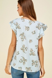 Les Amis Ava's Blue Floral Flutter Top - Back cropped