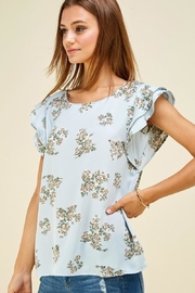 Les Amis Ava's Blue Floral Flutter Top - Front full body