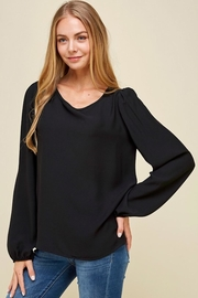 Les Amis Black Long Sleeve Blouse - Front cropped