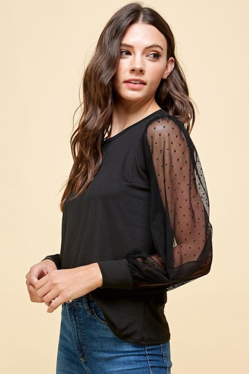 Les Amis Black Obsessed Blouse - Front Full Image
