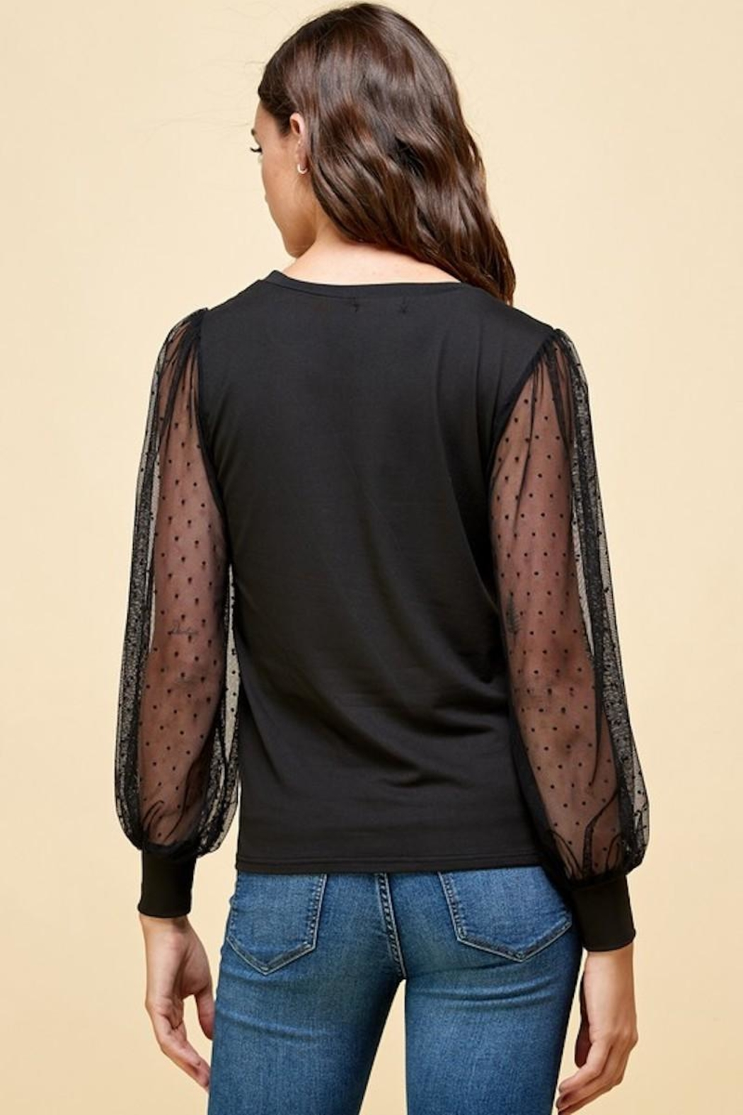 Les Amis Black Obsessed Blouse - Back Cropped Image