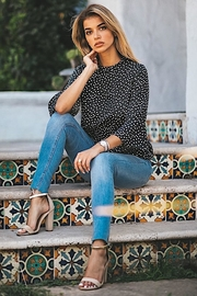 Les Amis Black Polka Dot Flare Sleeves - Product Mini Image