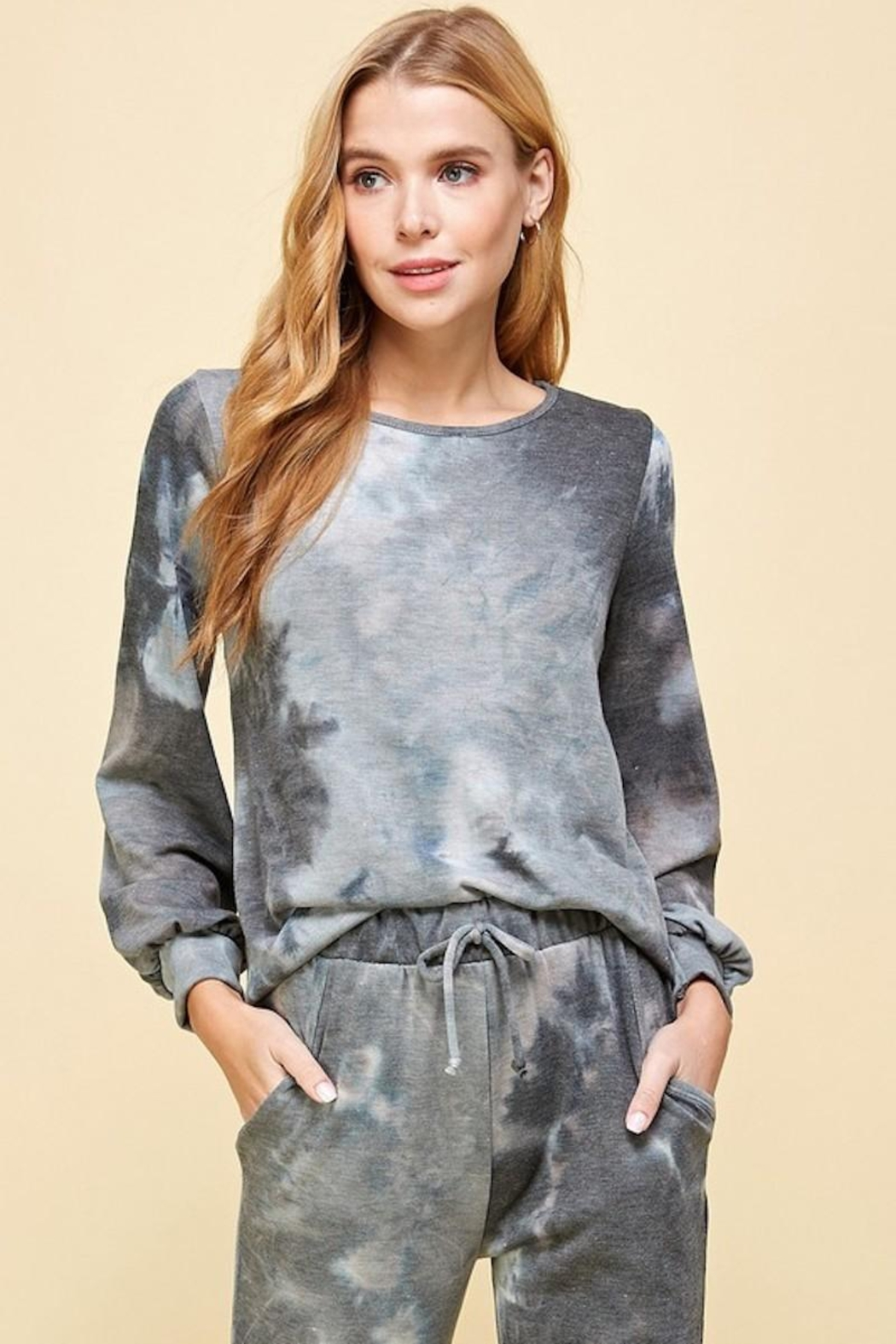 Les Amis Charcoal Tie Dye Top - Main Image