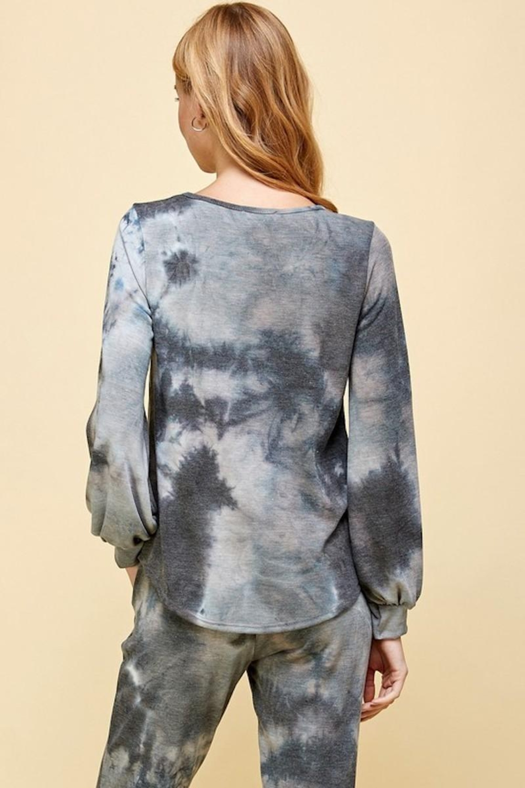 Les Amis Charcoal Tie Dye Top - Front Full Image