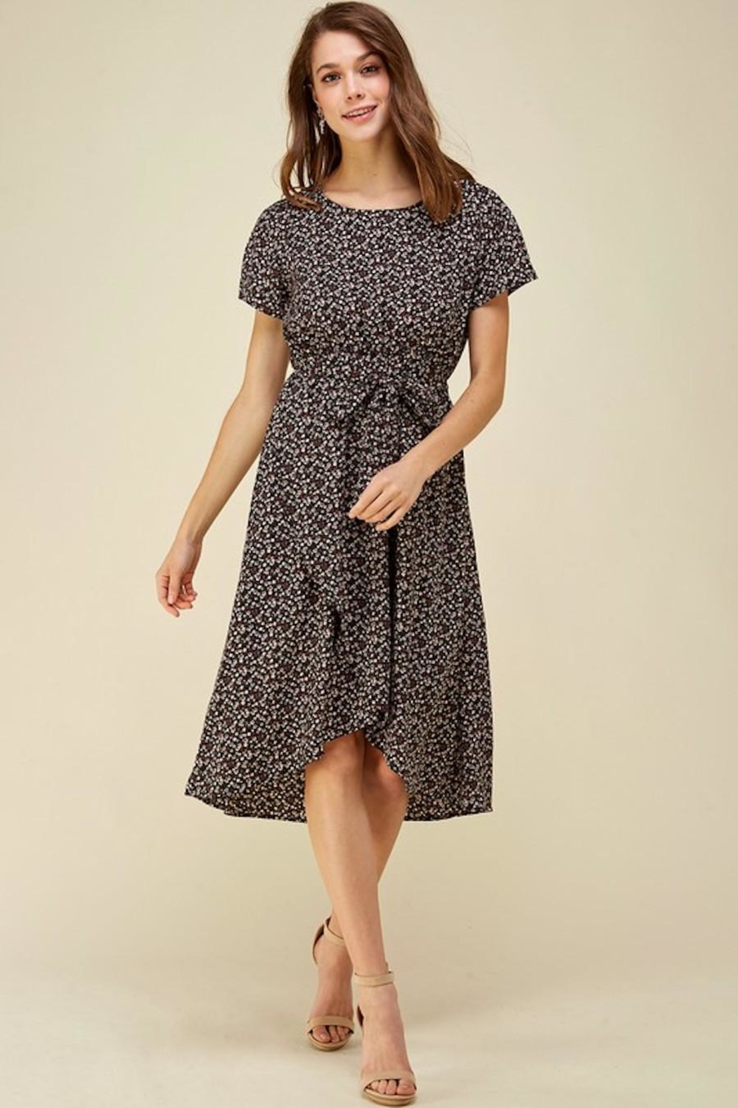Les Amis Dainty Floral Tie Midi - Front Full Image