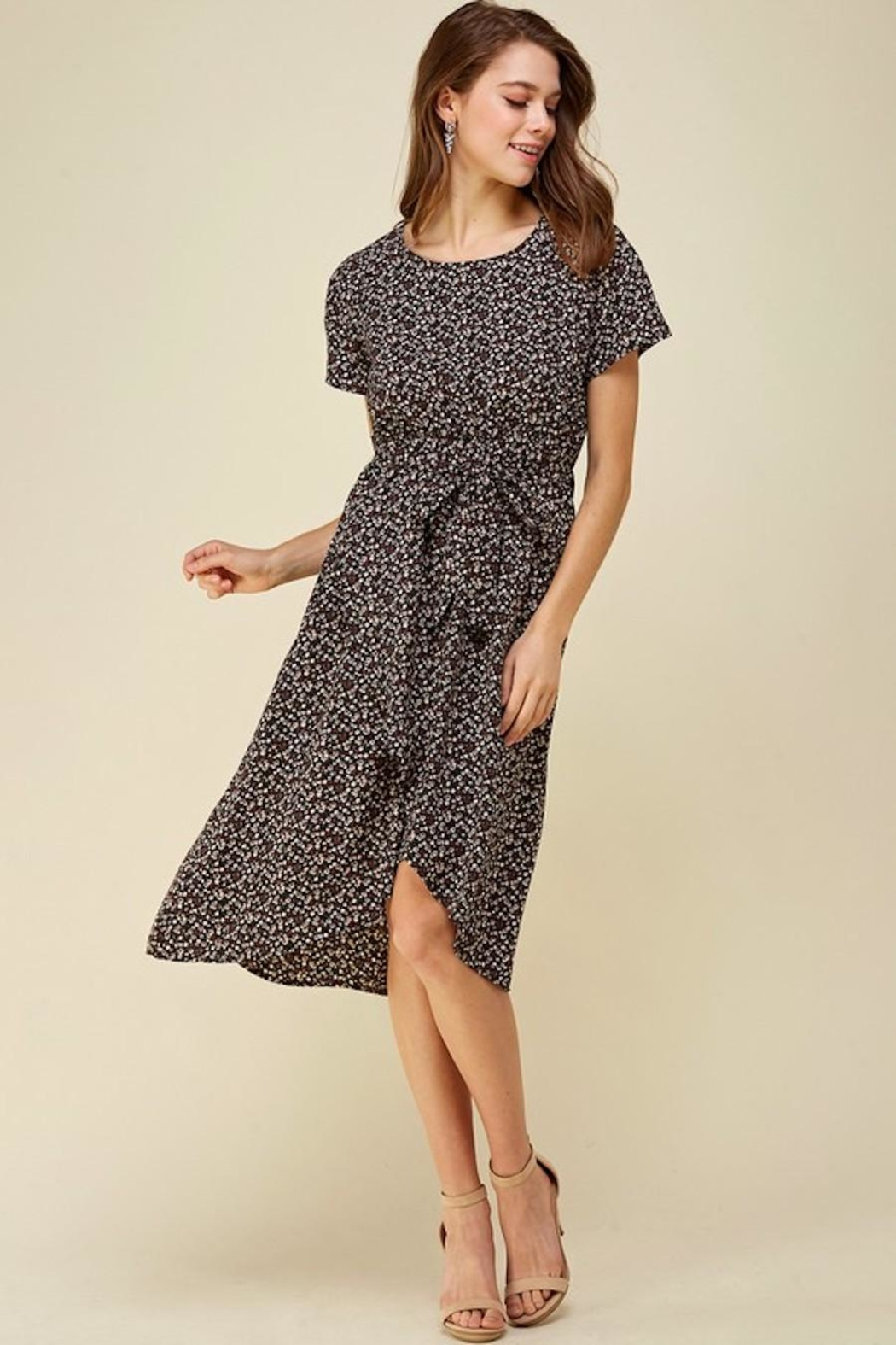 Les Amis Dainty Floral Tie Midi - Side Cropped Image