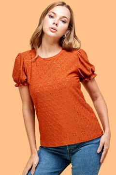 Les Amis Emily's Eyelet Top In Pumpkin - Product List Image