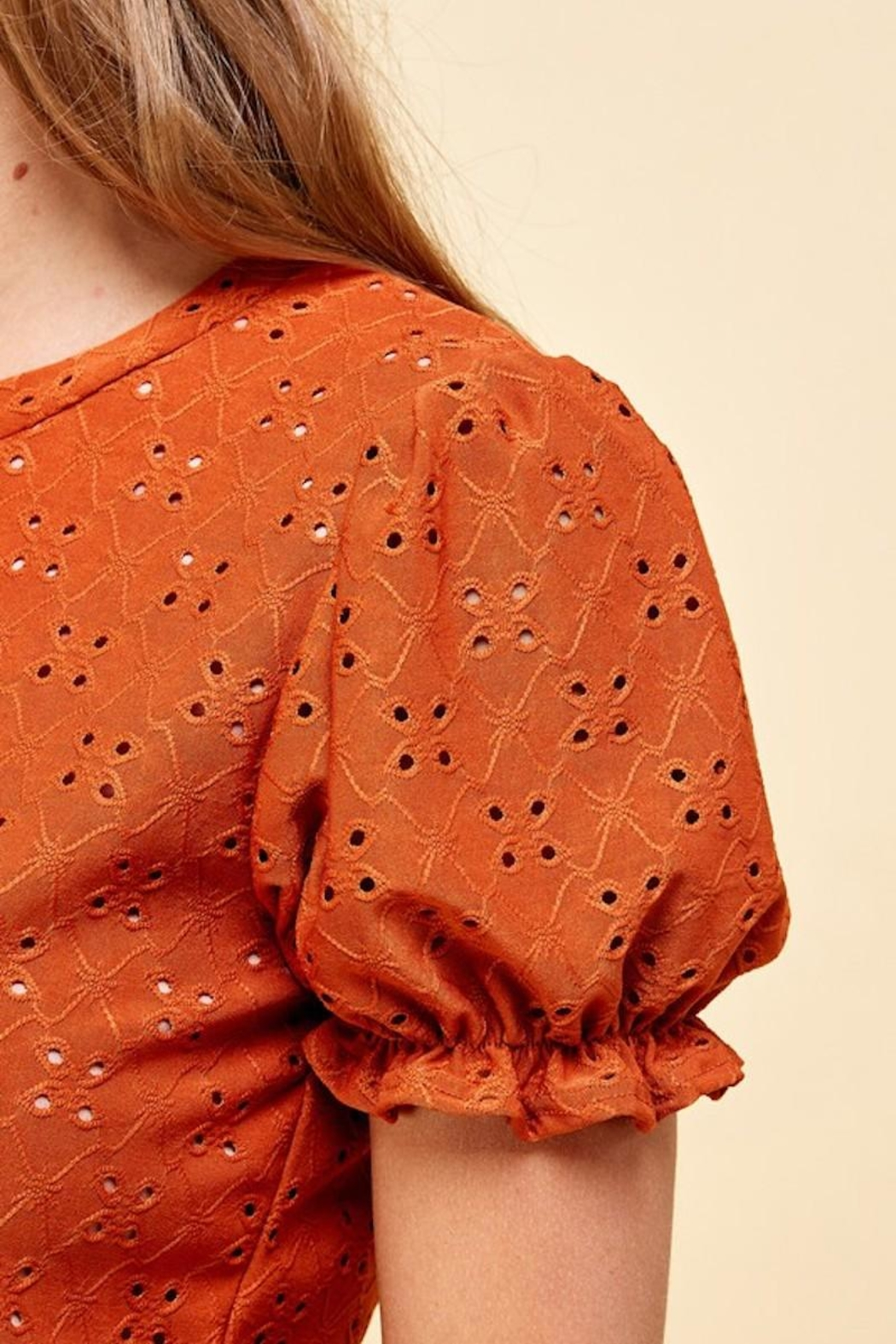 Les Amis Emily's Eyelet Top In Pumpkin - Side Cropped Image