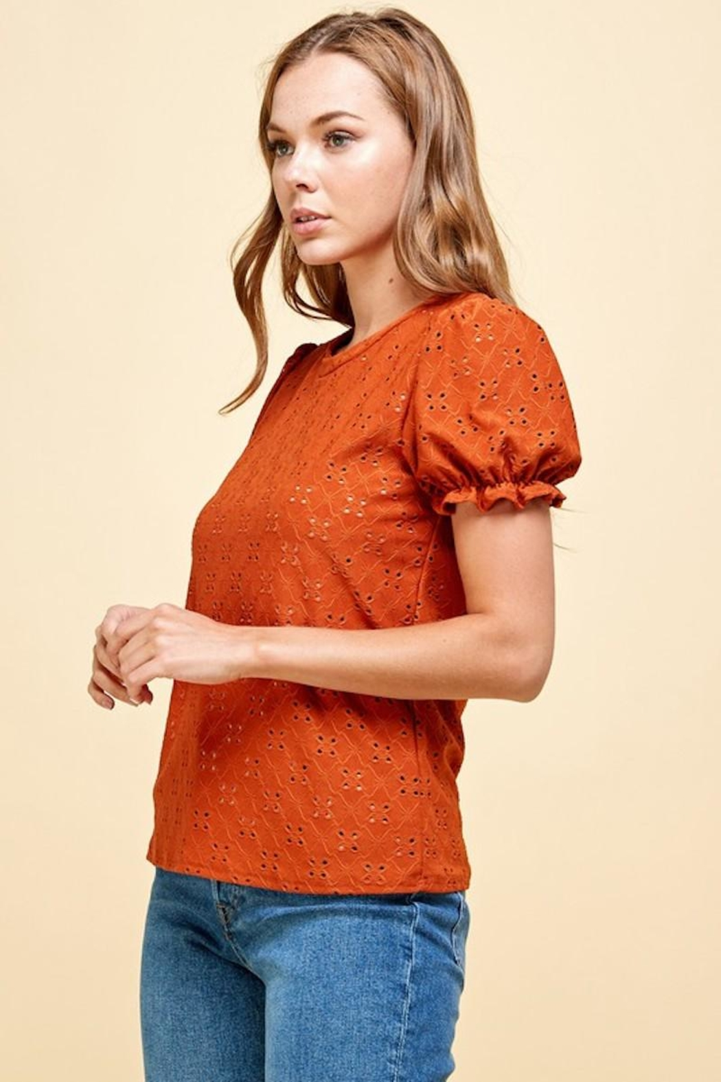 Les Amis Emily's Eyelet Top In Pumpkin - Front Full Image