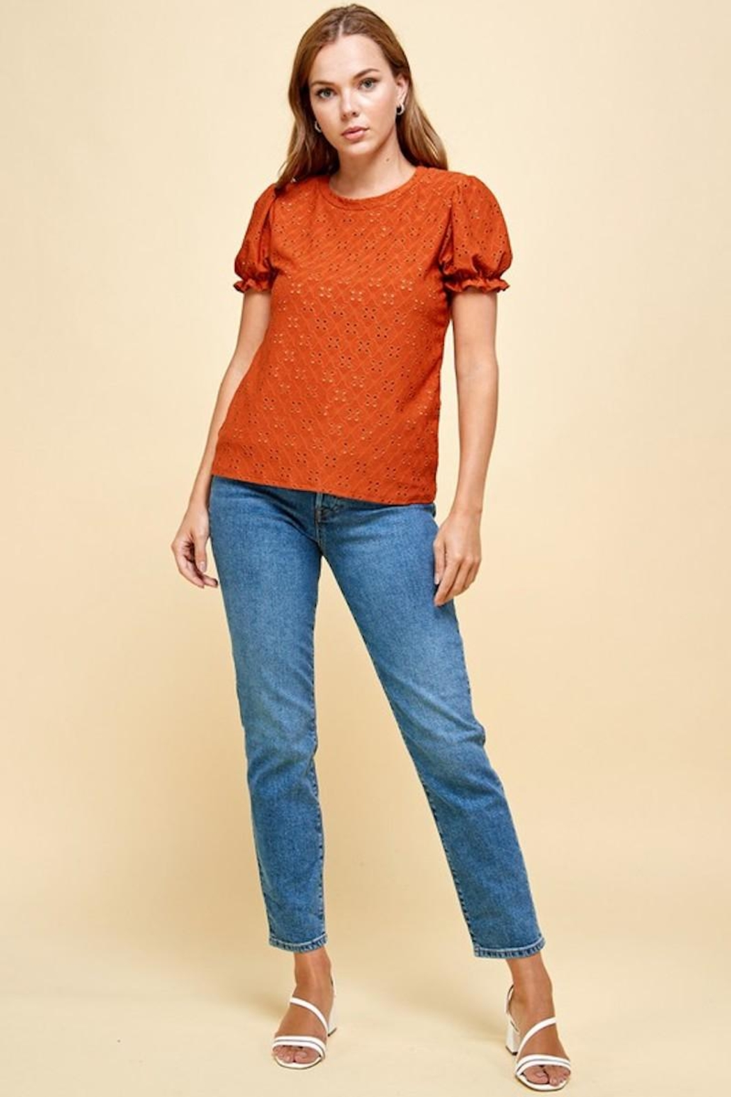 Les Amis Emily's Eyelet Top In Pumpkin - Back Cropped Image
