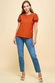 Les Amis Emily's Eyelet Top In Pumpkin - Back cropped