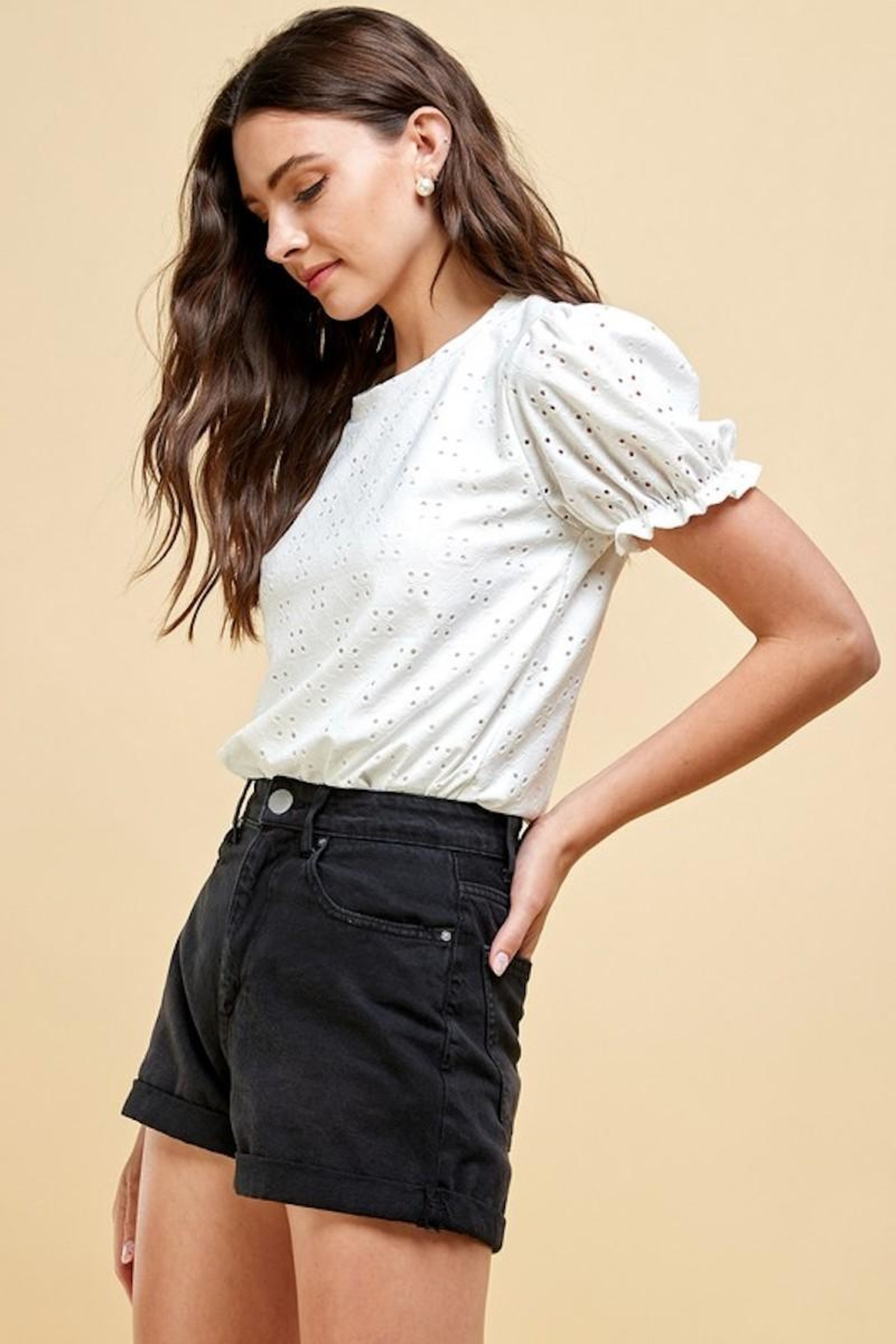 Les Amis Emily's Eyelet Top In White - Front Full Image